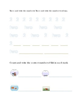 Number Recognition Number Two Trace Write Count Fish Kindergarten Math