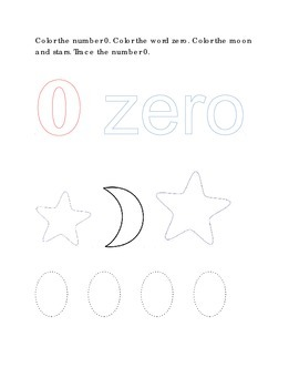 Number Recognition Number Zero Color Trace Moon Stars Kindergarten Math
