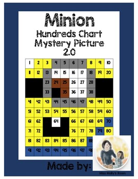 Number Recognition, Place Value, 100s Chart Mystery Picture 2nd Minion edition