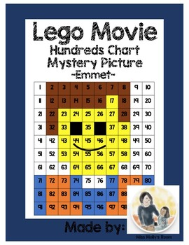 Number Recognition, Place Value, 100s Chart Mystery Picture Lego Movie, Emmet