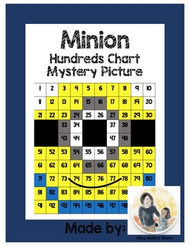 Number Recognition, Place Value, 100s Chart Mystery Picture Minion edition