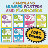 Number Recognition Poster & Flashcards in Candy Land Theme - 100% Editable