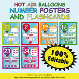 Number Recognition Poster & Flashcards in Hot Air Balloons