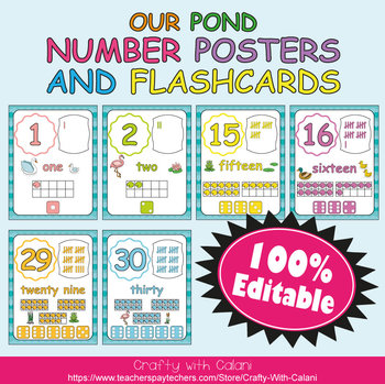 Number Recognition Poster & Flashcards in Our Pond Theme - 100% Editable