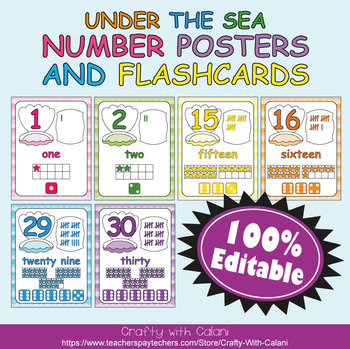 Number Recognition Poster & Flashcards in Under The Sea Theme - 100% Editable