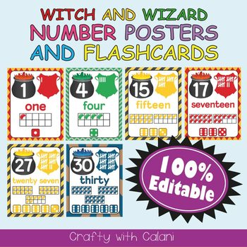 Number Recognition Poster & Flashcards in Witch & Wizard Theme - 100% Editable