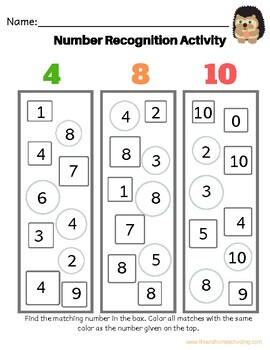 Number Recognition  Activity 1-20