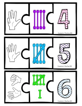 Number Recognition Puzzle: Finger Counting, Tally Marks, Numbers 1-10