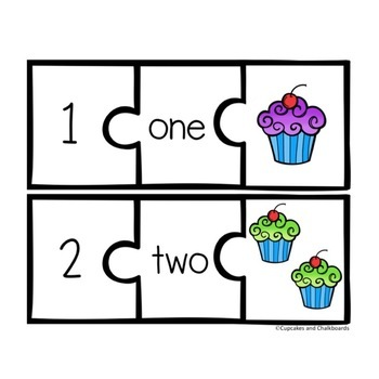 Number Recognition Puzzles 1-20:  Cupcakes