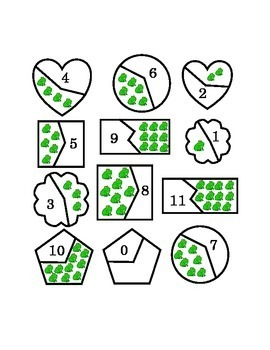 Number Recognition Puzzles Cut Pieces Mix Match Spring Frog Shapes 0-Eleven Math