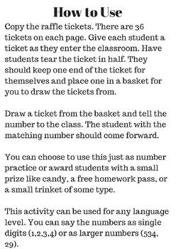 Number Recognition - Raffle Ticket Number Practice ASL, ESL, Deaf/HH, Elementary