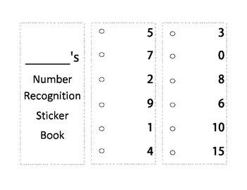 Number Recognition Sticker Book for Kindergarten Differentiation