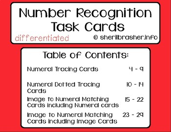 Number Recognition Task Cards