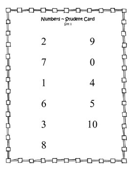 Number Recognition Test - student card