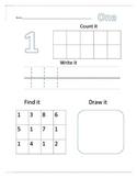 Number Recognition Worksheets 1-10