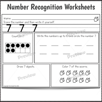 Numbers 1 to 20 Worksheets and Centers for Fall
