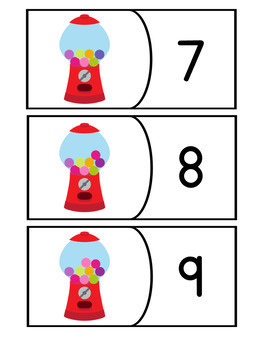 Number Recognition and Counting 1-10: Gumball Math Activity Pack