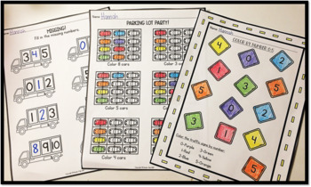 Number Recognition and Counting- Transportation Themed Math Printables
