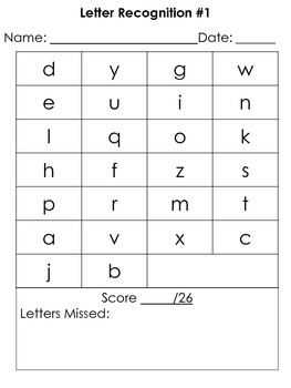 Number Recognition and Letter ID Assessment