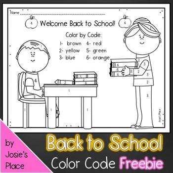 Back to School Color by code FREEBIE! (boy)
