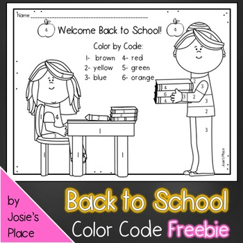 Color Code Welcome Back to School Coloring Sheet FREEBIE! (girl)