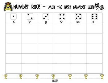 Number Recognition and Writing - Number Race and Dice Game - Numbers 0-20