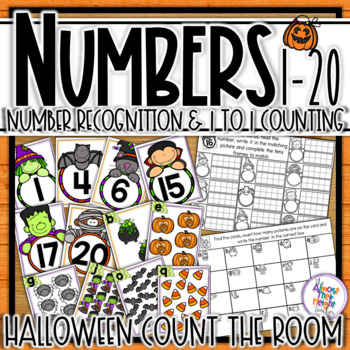 Halloween Number Recognition 1-20 Scoot Activity - 10's frame & counting cards