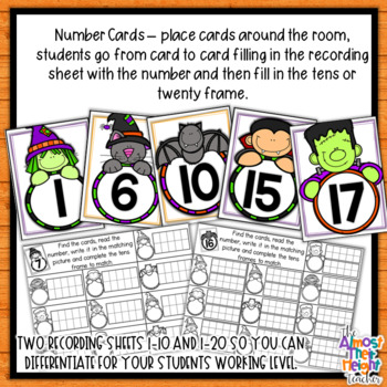 Halloween Number Recognition 1-20 Scoot Activity, 10's frame & counting cards
