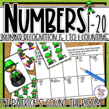 Number Recognition - tens frame & counting cards - 1-20 - St Patrick's Day Scoot