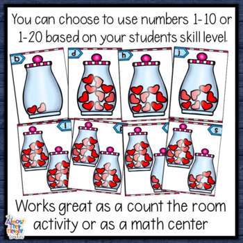 Number Recognition - tens frame & counting cards - 1-20 - Valentine Scoot