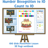 Number Recognition to 10 / Count to 10 - PowerPoint Lesson and Workbook