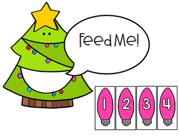 Number Recognition to 100 Christmas Math Center (Hungry, Hungry Tree)