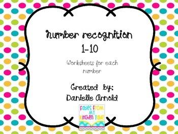 Number Recognition worksheet 1-10