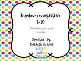 Number Recognition worksheet 1-10