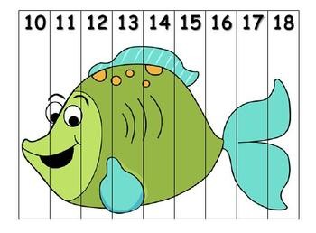 Number Recogniton Puzzle 1-20 Ocean Theme