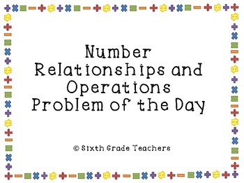 Number Relationships and Operations Warm Ups Sample