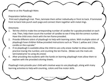 Number Representation Cupcake Playdough Mats #'s 1 - 10