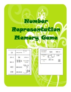 Number Representation Memory Game, Common Core Math 2.NBT.A.3