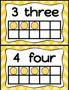 Number Posters (Yellow Chevron)