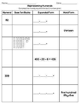 Number Representations Worksheet (or Assessment)