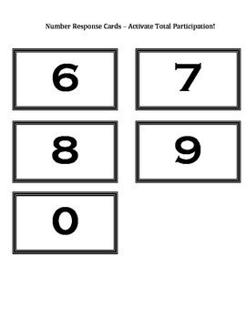 Number Response Cards - Activate Total Participation!