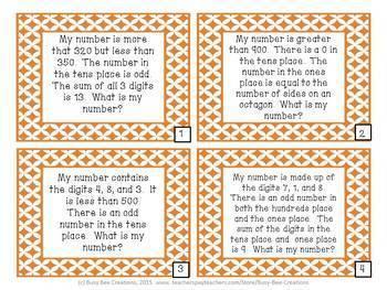 Number Riddles Bundle - Place Value Math Centers