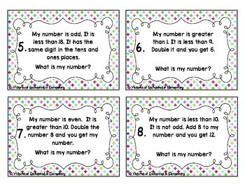 Number Riddles Task Cards: Numbers 1-20