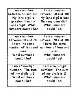 Number Riddles - Two Digit Numbers