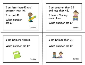 Number Riddles for Scoot Games, Partner Work and Individual Tasks