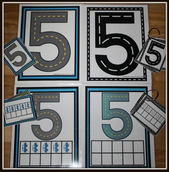 Number Tracing Posters and Ten Frames: Road and Transportation Themed