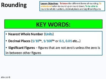 Number: Rounding - Whole Numbers, Decimal Places and Significant Figures
