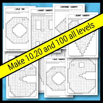 Back to School Make 10 20 and 100 Addition Puzzles