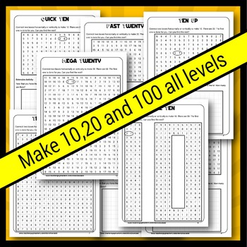 Summer Make 10 20 and 100 Number Puzzles