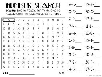 Number Search Bundle - Addition, Subtraction, Multiplication, Division